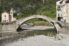 Arch Bridge at Dolceacqua, Italy. The Bridge at Dolceacqua, Province of Imperia, Italy Royalty Free Stock Photography