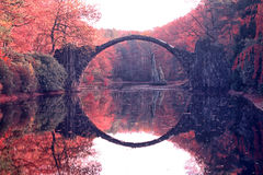 Arch Bridge in Kromlau. Amazing place in Germany.  Royalty Free Stock Image