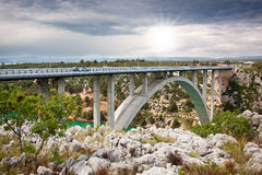 Arch bridge. In Maslenica  across the bay in Croatia .Krka National Park Royalty Free Stock Image