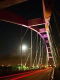 Arch bridge and moon. In night Stock Photos