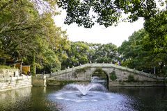 The arch bridge at Mount Putuo royalty free stock images