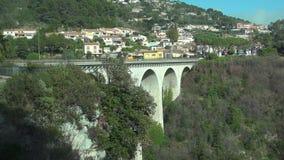Arch bridge near old town stock video
