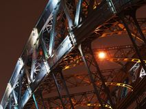 Arch of bridge in night. Arch of old steel bridge in night Stock Photo