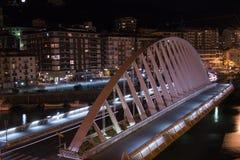 Arch bridge at night. Arch bridge over the river at night Stock Photo