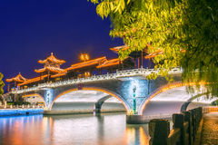 The arch bridge at night. This photo was taken in Yangzhou city, china Stock Image