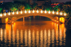 Arch bridge. The night scene of Chinese arch bridge Stock Images