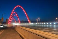 Arch bridge night scenes. The nightscape of Beizhonghuan Bridge in Taiyuan, Shanxi, China Royalty Free Stock Photo