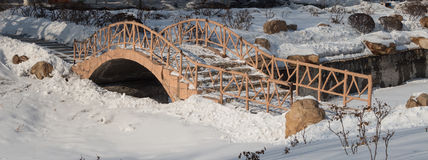 Arch bridge. Old arch bridge in the snow, the silent deserted Royalty Free Stock Image