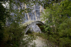Arch bridge. Old stone bridge from Zagoria, Greece Royalty Free Stock Images