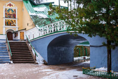 Arch and bridge in Orthodox monastery. Arch and the bridge in Pskov-Caves Monastery. Pechory, Pskov Oblast Royalty Free Stock Image
