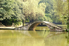 Arch bridge in the park. Shot in the botanical garden,the stone bridge Royalty Free Stock Photo