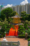 Arch Bridge and Pavilion in Nan Lian Garden, Hong Kong. Stock Photography