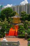 Arch Bridge and Pavilion in Nan Lian Garden, Hong Kong. Arch Bridge and Pavilion in Nan Lian Garden, Hong Kong Stock Photography