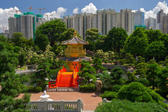 Arch Bridge and Pavilion in Nan Lian Garden, Hong Kong. Royalty Free Stock Photos
