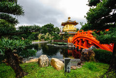 Arch Bridge and Pavilion. In Nan Lian Garden, Hong Kong Stock Photo