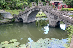 Arch bridge in the pond. Oriental temples common garden landscape Royalty Free Stock Photos