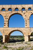 Arch Bridge of Pont du Gard. Part of the ancient aqueduct of Nimes, France Royalty Free Stock Photos