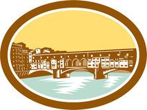 Arch Bridge Ponte Vecchio Florence Woodcut. Illustration of arch bridge of Ponte Vecchio in Florence, Firenze, Italy spanning river Arno viewed from afar set Royalty Free Stock Images