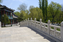 Arch bridge railing in chinese style garden architecture. Chinese style garden in the arch bridge railing and antique architectural background, in the green Stock Photography