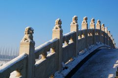 Arch bridge railings. Stone carvings of Chinese characteristics Royalty Free Stock Images