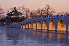 17 arch bridge sunset, China royalty free stock images