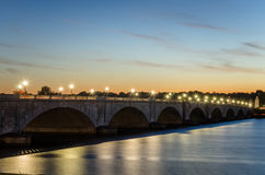 Arch Bridge at Sunset. Memorial Bridge over the Potomac River at Sunset. Washington DC, USA Stock Photography