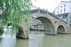 Arch Bridge in Water alley at suzhou Stock Images