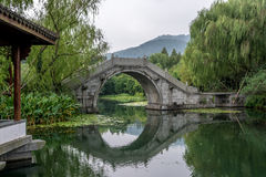 The arch bridge of the west lake's garden. The beautiful arch bridge in the traditional garden of west lake in Hangzhou Royalty Free Stock Photo