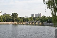 Arch bridge in the Yingze Park - Taiyuan, China royalty free stock photos