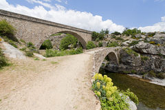 Arch bridges in Corsica, France. Two stone arch bridges going over a stream in Corsica, France Stock Photography