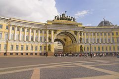 Arch Building. General Army Staff Building in Saint Petersburg, Russia. Classicism-epoch style royalty free stock image