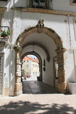The arch in the building. The arch in the house in the Portuguese town of Alcobaca royalty free stock photography