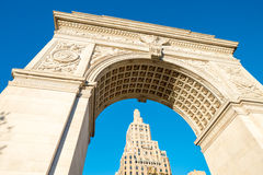 Arch and buildings of Washington Square Park, New York City Stock Images