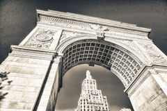 Arch and buildings of Washington Square Park, New York City.  Royalty Free Stock Images