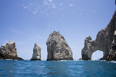 Arch of Cabo San Lucas, Baha California Sur, Mexico. View from the sea onto the famous arch and rock formation in Cabo San Lucas Royalty Free Stock Images
