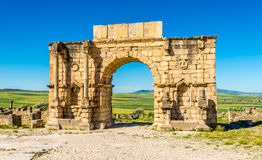Arch of Caracalla in ancient city Volubilis ,Morocco. Arch of Caracalla in ancient city Volubilis - Morocco Stock Photo