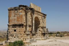 Arch of Caracalla. The Arch of Caracalla one of the old buildings of Volubilis, Morocco Stock Image