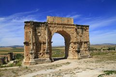 Arch of Caracalla. In Volubilis, Morocco Stock Photography