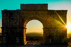 Arch of Caracalla, Volubilis. The arch od Caracalla in volubilis roman ruins site, Morocco Royalty Free Stock Image