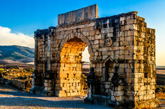 Arch of Caracalla, Volubilis, Morocco. The arch od Caracalla in volubilis roman ruins site, Morocco Royalty Free Stock Photography