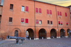 Arch of Castello Estense castle and Regina cannon Royalty Free Stock Photography