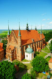 Arch-cathedral Basilica in Frombork, Poland. Aerial view of the Arch-cathedral Basilica of the Assumption of the Blessed Virgin Mary and Saint Andrew in Royalty Free Stock Image