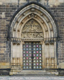 Arch of a Catholic cathedral. Front entrance in a cathedral Stock Photo