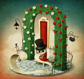Arch, chair and rabbit. Fantasy illustration with green arch and red royal chair and rabbit with list. Computer graphics royalty free illustration