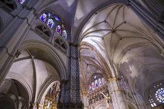 Arch.Chapel.inside the cathedral of toledo. Stained glass,art, imperial city. Spain Royalty Free Stock Image
