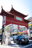 Arch in Chinatown in Montreal, Canada. Chinatown arch Montreal in 2011. The arch is located in the area of De la Gauchetiere Street in Montreal. One of the Stock Photo