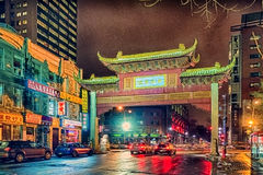 Arch in Chinatown in Montreal. Arch at night in Chinatown in Montreal, Quebec, Canada Stock Photos