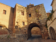 Arch of Christ, Fountain of Concejo, city walls of Cáceres, Extremadura, Spain Stock Image