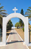 Arch with christian orthodox cross. Arch with christian orthodox cross on Crete island, Greece Royalty Free Stock Photo