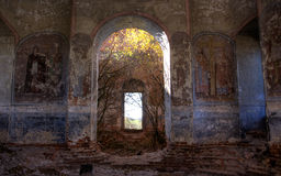 The arch in a church. Painted arch in direlict church Stock Image
